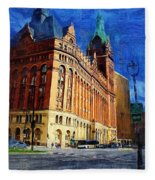 City Hall And Lamp Post Fleece Blanket