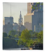 City Hall From The Schuylkill River Fleece Blanket