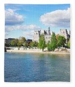 Seine River Embankment Fleece Blanket