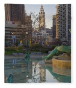 City Hall Reflecting In Swann Fountain Fleece Blanket