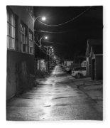City Lane At Night Fleece Blanket
