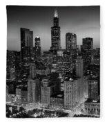 City Light Chicago B W Fleece Blanket