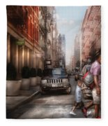 City - Ny - Walking Down Mercer Street Fleece Blanket