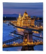 City Of Budapest At Twilight Fleece Blanket
