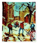 City Of Montreal Hockey Our National Pastime Fleece Blanket