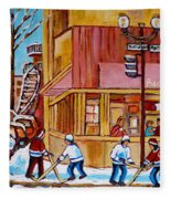 City Of Montreal St. Urbain And Mont Royal Beautys With Hockey Fleece Blanket