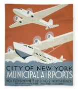 City Of New York Municipal Airports Fleece Blanket