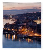 City Of Porto In Portugal At Dusk Fleece Blanket