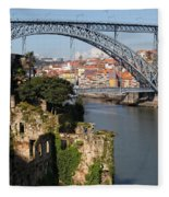 City Of Porto In Portugal Picturesque Scenery Fleece Blanket