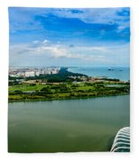 City Of Singapore And Blue Sky Fleece Blanket