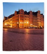 City Of Wroclaw Old Town Market Square At Night Fleece Blanket