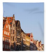 City Of Wroclaw Old Town Skyline At Sunset Fleece Blanket