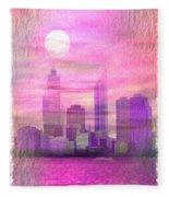 City On Night View Fleece Blanket