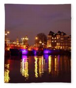 City Scenic From Amsterdam With The Blue Bridge In The Netherlands Fleece Blanket