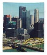 City Skyline-pittsburg Fleece Blanket
