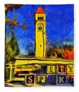 City Spokane - Riverfront Park Fleece Blanket