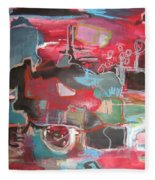 Citysacpe At Twilight  Original Abstract Colorful Landscape Painting For Sale Red Blue  Fleece Blanket