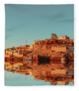 Cityscape For The Beautiful Nubian City Aswan In Egypt At The Golden Hour Of The Sunset Time. Fleece Blanket
