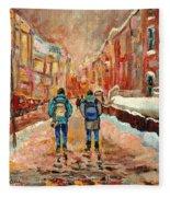 Cityscape In Winter Fleece Blanket