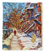 Cityscene In Winter Fleece Blanket