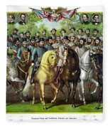 Civil War Generals And Statesman With Names Fleece Blanket