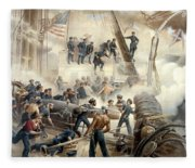 Civil War Naval Battle Fleece Blanket