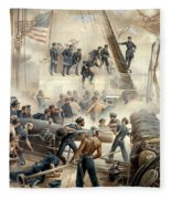 Civil War Naval Battle Fleece Blanket