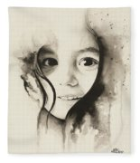 Claire Black And White Fleece Blanket