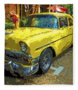 Classic 56 Chevy Car Yellow  Fleece Blanket