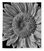 Classic Black And White Sunflower Fleece Blanket