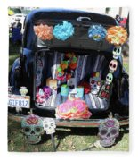 Classic Car Day Of Dead Decor Trunk Fleece Blanket