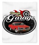 Classic Car Garage With Gto Fleece Blanket