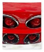Classic Car Tail Lights Reflection Fleece Blanket