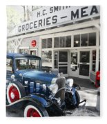 Classic Chevrolet Automobile Parked Outside The Store Fleece Blanket