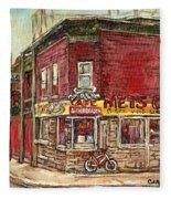 Classic Chinese Restaurant Montreal Memories Silver Dragon Canadian Paintings Carole Spandau         Fleece Blanket