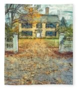 Classic Colonial Home In Autumn Pencil Fleece Blanket