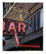 Classic Neon Sign For A Bar Livingston Montana Fleece Blanket