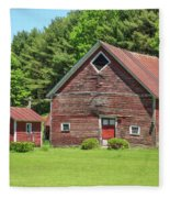 Classic Old Red Barn In Vermont Fleece Blanket