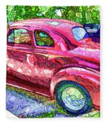 Classic Red Vintage Car Fleece Blanket