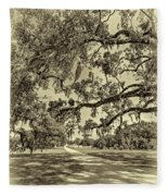 Classic Southern Beauty - Evergreen Plantation -sepia Fleece Blanket