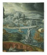 Classical Landscape With Ships Running Before A Storm Towards A Classical Harbour Probably Corinth Fleece Blanket