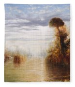 Classical River Landscape With Figures On The Steps Below A Temple Embarking Boats Fleece Blanket