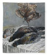 Claude Monet 1840 - 1926 Pheasant, Woodcock And Partridge Fleece Blanket
