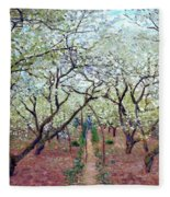 Claude Monet Orchard In Bloom Fleece Blanket