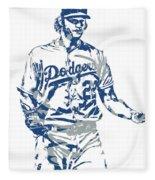Clayton Kershaw Los Angeles Dodgers Pixel Art 10 Fleece Blanket