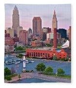 Cle Sunset View From The Shoreway Fleece Blanket