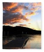 Clear Lake Sunset Fleece Blanket
