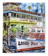 Clearwater Florida Boat Painting Fleece Blanket