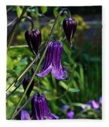 Clematis Flower Blossoms Fleece Blanket