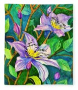 Clematis For Elsie Fleece Blanket